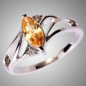 Jewelry - Marquise Cut Morganite & White Topaz Gemstone Ring